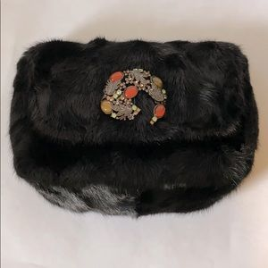 NWOT Bloomingdale's Black Mink Fur Bag